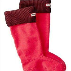 New Hunter M Pink Black Ribbed Fleece Boot Socks